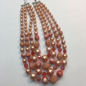 Vintage pink bead Crystal multi strand necklace